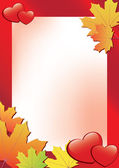 Vector red autumn frame with hearts — Stock Vector