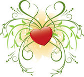 Vector red heart and flora — Stock Vector