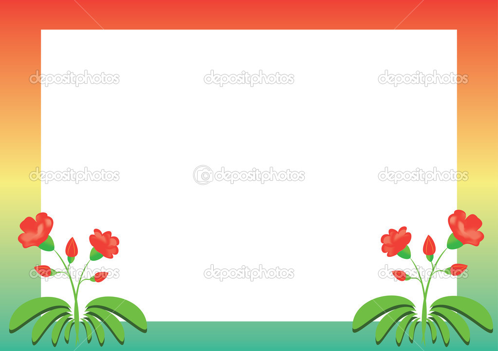 Colored vector frame with red flowers — Stock Vector #3855711