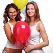 Girlfriends and balloons — Stock Photo