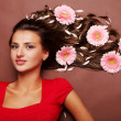 woman and gerbera — Stock Photo