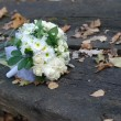 Royalty-Free Stock Photo: Wedding bouquet on bench