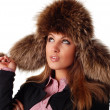 Woman in fur cap — Stock Photo