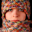 Woman wool scarf - Stock Photo