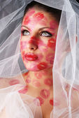 Woman and veil — Stock Photo