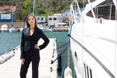 Woman and boat — Stock Photo