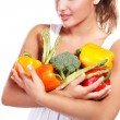 Stock Photo: Woman and vegetables