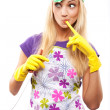 Housewife and knife - Stock Photo