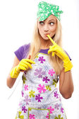 Housewife and knife — Stock Photo