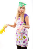 Krásná žena v domácnosti — Stock fotografie