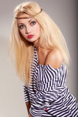 Woman and striped top — Stock Photo