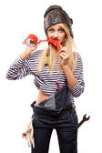 Woman and red scotch tape — Stock Photo