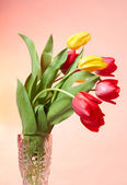 Red and Yellow tulips in the vase — Stok fotoğraf