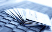 Credit cards and laptop. Shallow DOF — Stock Photo