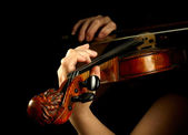 Musician playing violin isolated on black — Stok fotoğraf