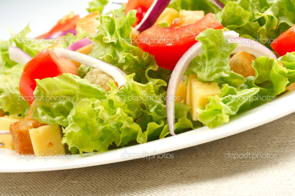 Close-up of salad on white plate — Stock Photo #3451362
