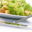 Close-up of salad on white plate — Foto Stock
