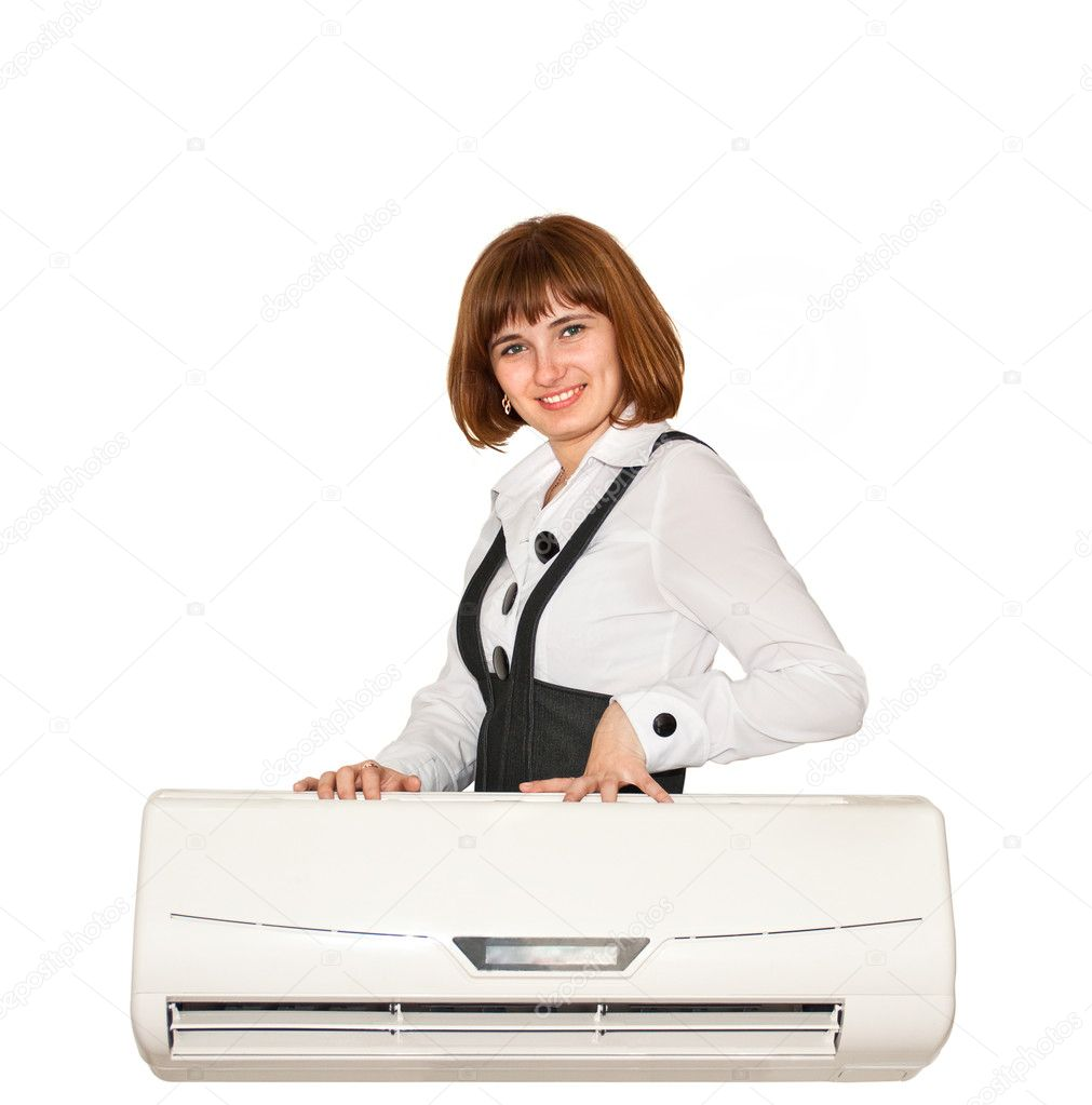 Girl with air conditioning on a white background  Stock Photo #3015011