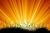驚くべき自然日の出風景 — ストックベクタ