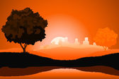 Amazing natural sunrise landscape — Stock Vector