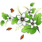 Flower background with butterfly — Stock Vector