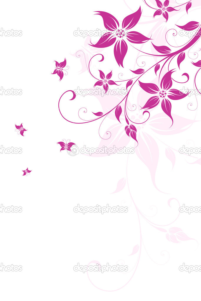 Abstract Background with flowers and butterfly for your design  Stock Vector #3152797