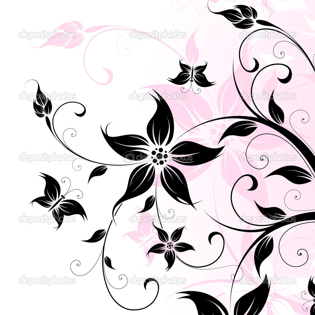 Abstract Background with flowers and butterfly for your design — Stock Vector #3152807