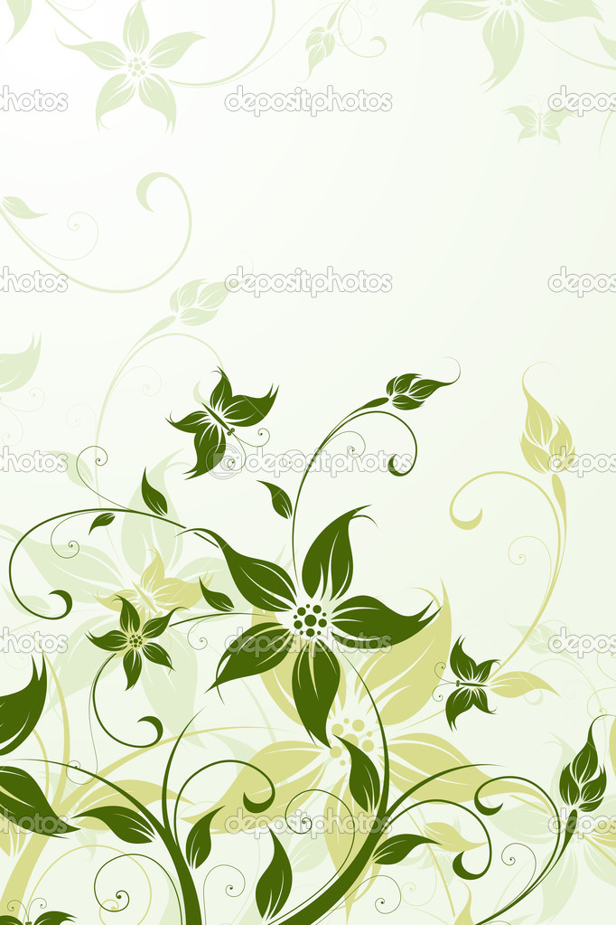 Abstract Background with flowers and butterfly for your design — Stock Vector #3152819