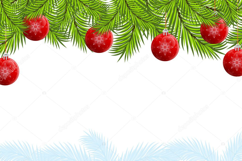 Christmas background with fir tree and balls for your design — Stock Vector #3796566