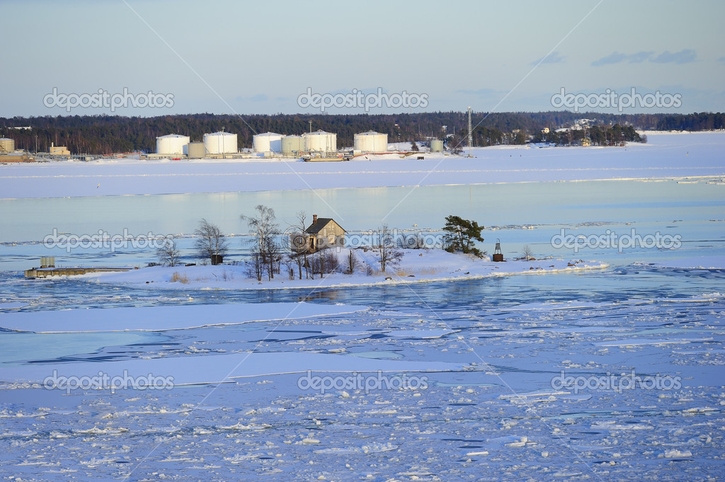 Icy Baltic sea around Helsinki, with Finnish houses on islands  Stock Photo #2829437