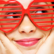 Girl with funny sunglasses — Stock Photo