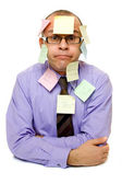Business man covered with sticky notes — Stock Photo