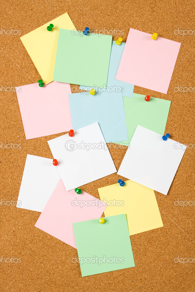 Cork notice board with blank paper notes  Stock Photo #2798889