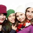 Young girls in winter outfits — Stock Photo