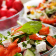 Cheese salad with fresh vegetables — Stock Photo