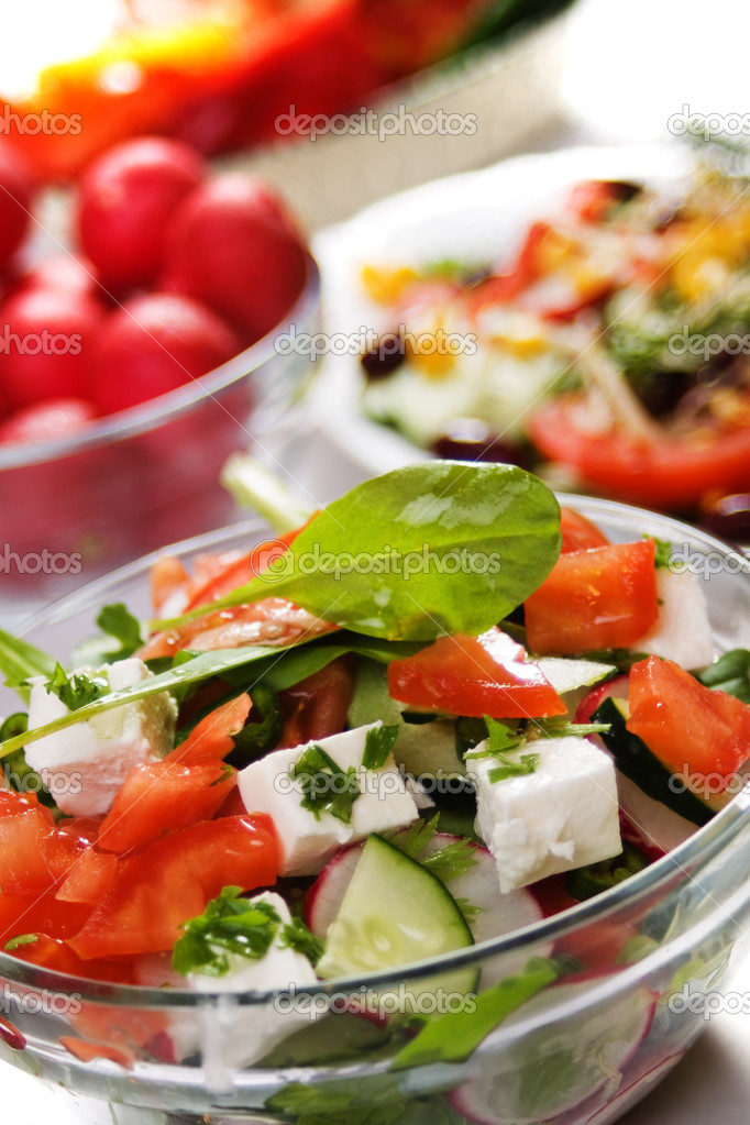Cheese salad with tomato, cucumber and radish — Stock Photo #3124404
