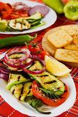 烤的西葫芦、 番茄、 洋葱和其它蔬菜 — 图库照片