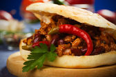 Mexican chili beans sandwich — Stock Photo