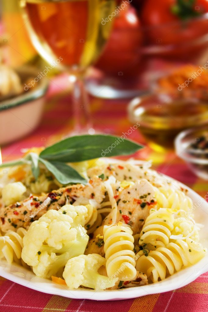Italian farfale pasta with cauliflower and chicken meat  Stock Photo #3468403
