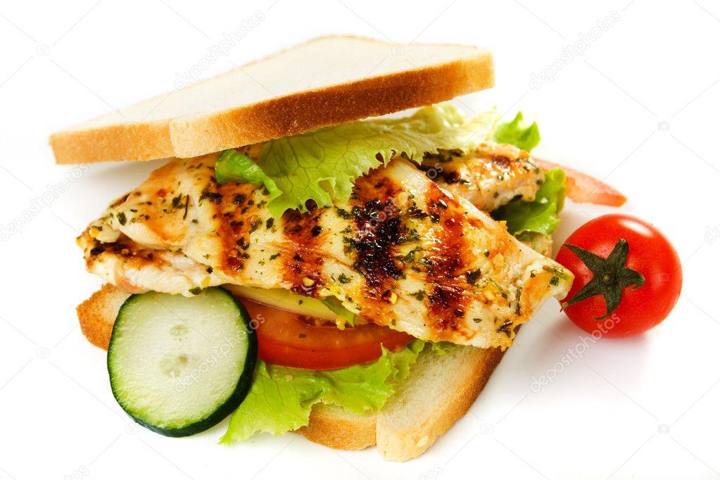 Izgara Tavuk Sandviç Izole Izgara Tavuk Sandviç