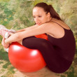 Stock Photo: Exercise ball rollout