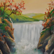 图库照片: Oil landscape, waterfall