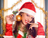 Portrait Santa Girl — Stock Photo