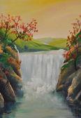 óleo paisagem, cachoeira — Foto Stock