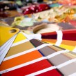 Color chart and artistic paint - Stock Photo