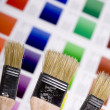 Artistic equipment and color chart - Stock Photo