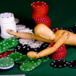 Manikin plays poker — Stock Photo