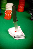 Poker and knife — Stock Photo