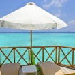 Stockfoto: Verandah of water villa, Maldives.