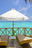 Verandah of water villa, Maldives. — Stock Photo
